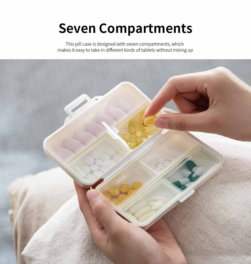 Mini-sized Medicine Container for Outdoor Travelling, Concise Potable White Little Carry-on Pill Case One Week Dose Dispenser 2