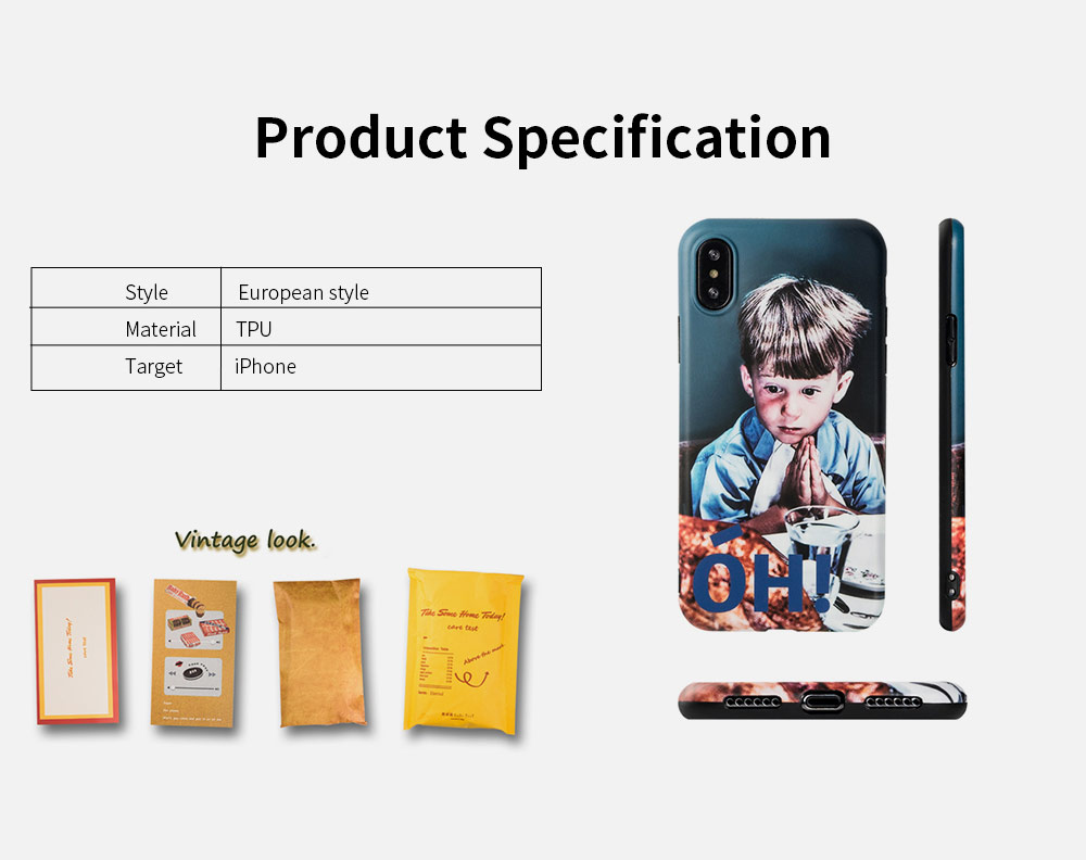 Original Work Vintage Cell Phone Protective Case Shell for iPhone XS MAX XR 8 Plus 7 Plus 6S Plus, OH Boy Pattern Soft Full Back Cover Shockproof iPhone Case 4