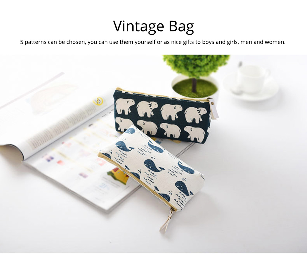 Korean Style New Creative Student Stationery Bag Cotton Linen Pen Bag for Different Patterns Optional 2