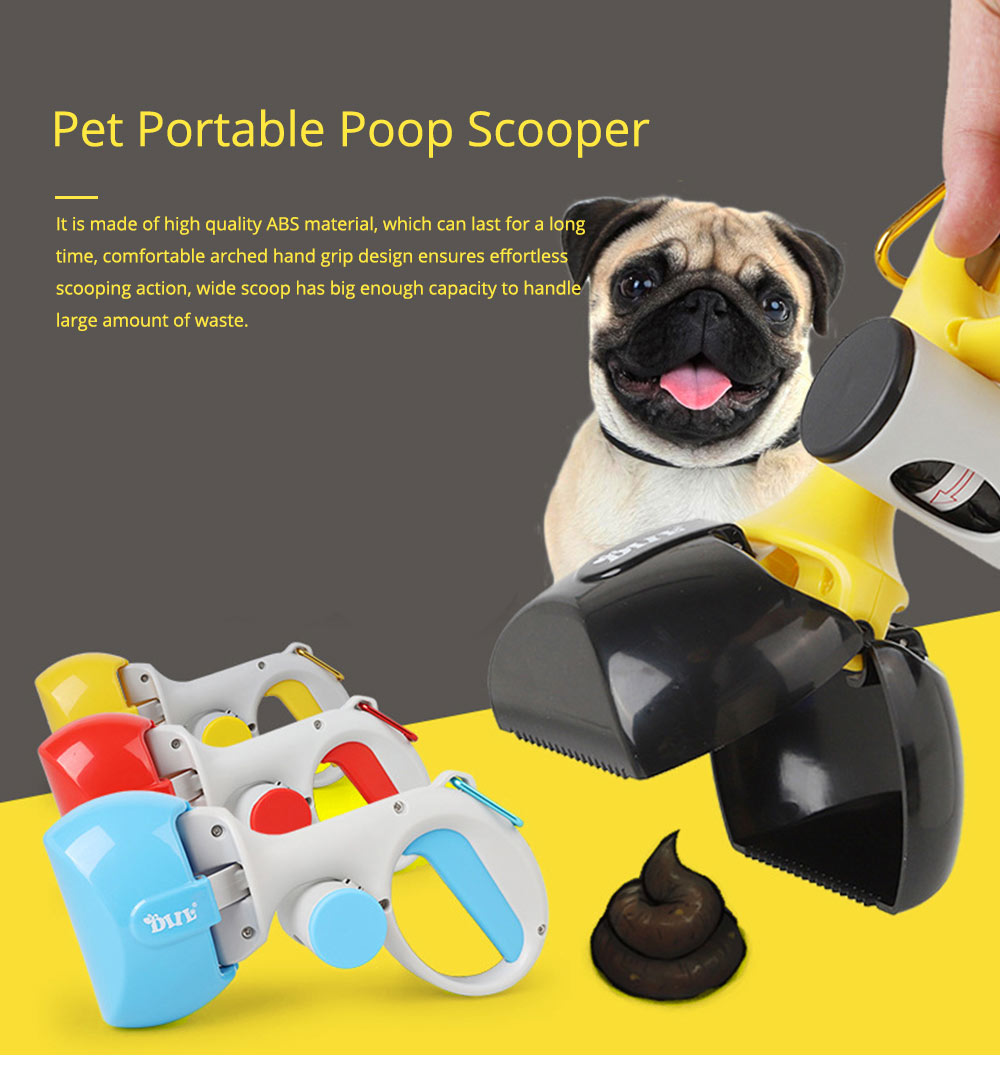Pet Portable Poop Scooper with Free Dog Waste Dispenser and Bags Included for Dog and Cat 0