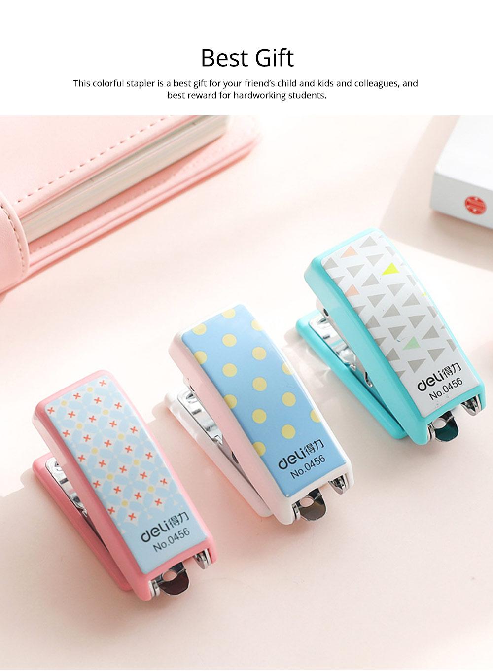 Geometric Mini Student Stapler Colorful Cute Polka Dot Stylish Stationery Stapler 5