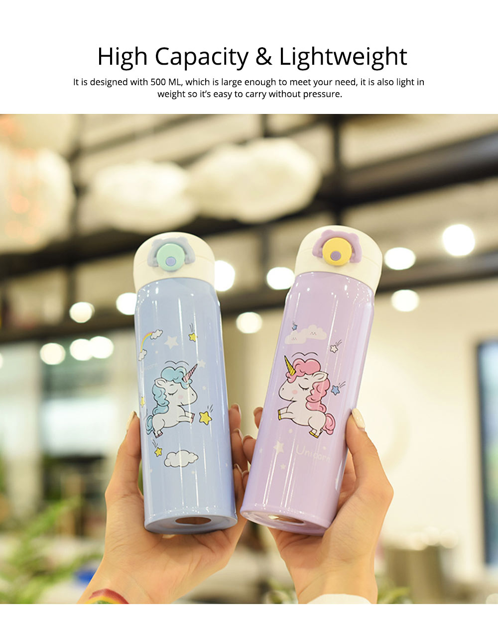 Cartoon Portable Stainless Steel Vacuum Cup Bottle Children Cup with Unicorn Pattern 1