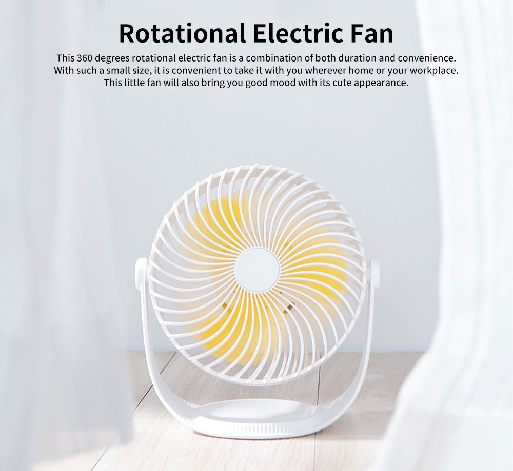 Latest F12 High-capacity of 2000mAh Mini-sized Electric Fan, 360 Degrees Rotational USB Air Fan Portable 0
