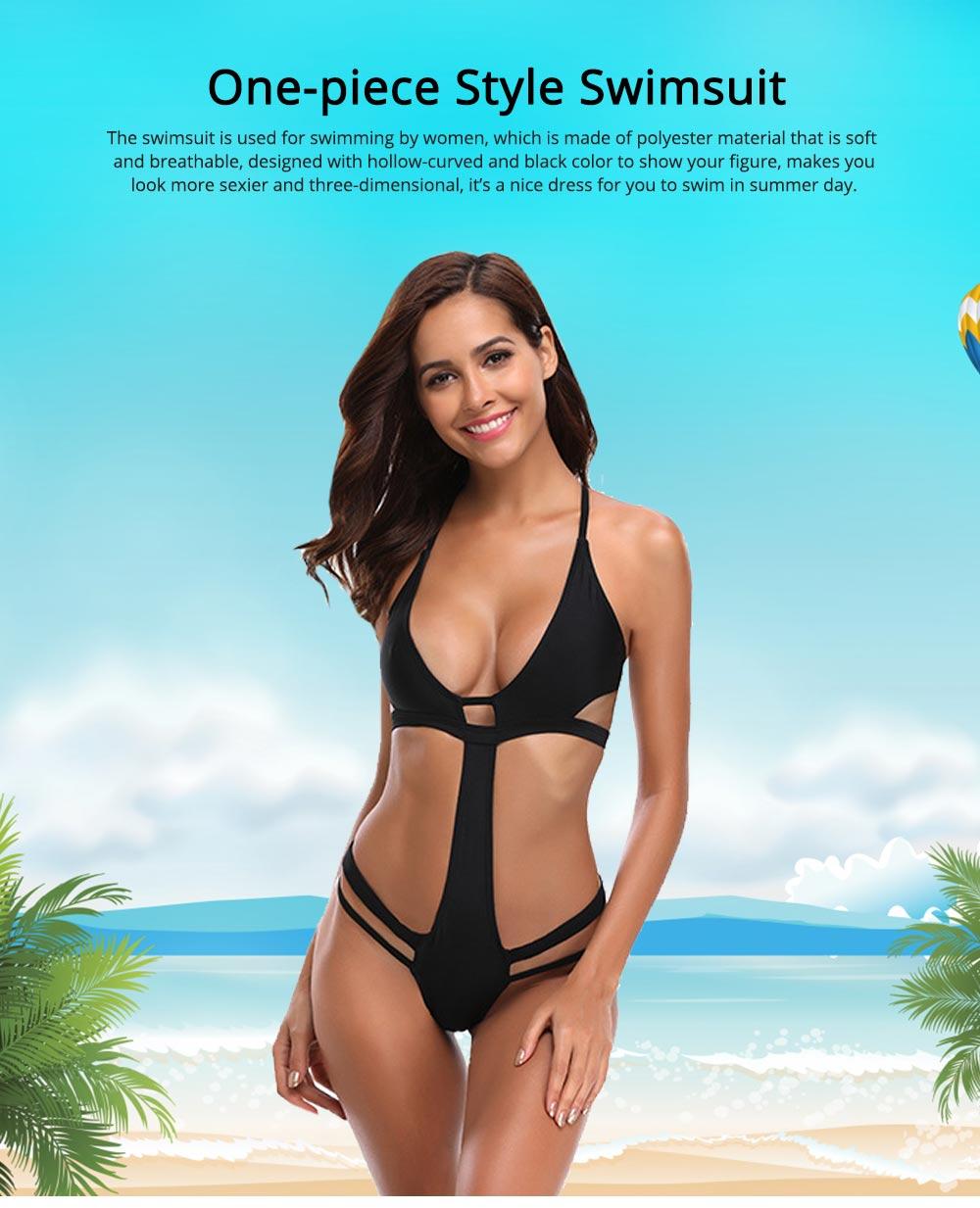Polyester Material Black Bikini for Women Elastic Bathing Suit One-piece Style Swimsuit Summer Swimwear 0