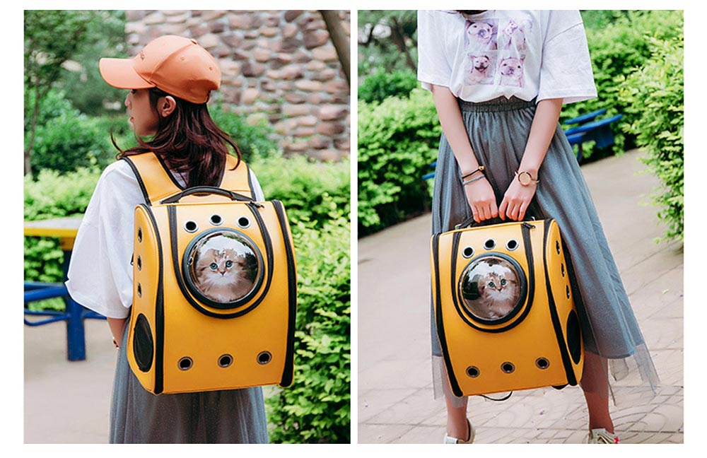 Pet Carrier Backpack 2-Sided Entry PU Leather Space Capsule Waterproof Breathable for Cat Small Dog 6