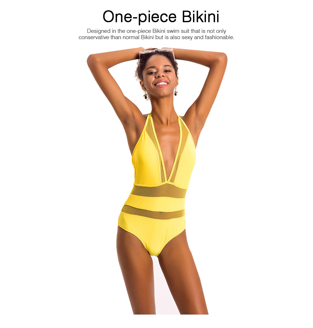 Mesh Stitching One-piece Swim Suit for Women, Fashionable Sexy Swimsuit High Waist Bikini Bathing Suit for Lady Girl 2019 Hot 1