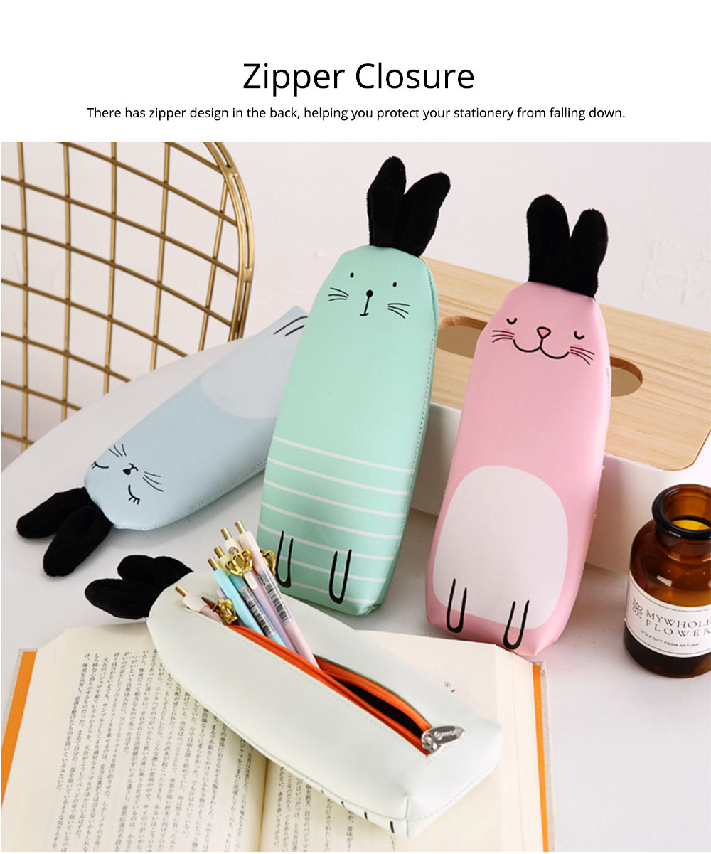 Japanese Style Energetic Simple Cute Pencil Case Rabbit Shape Pen Case with PU Material 3