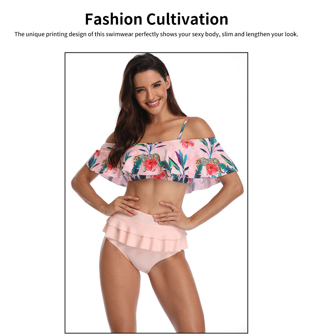 2019 Latest Sexy Cotton Fiber Bikini, Split Type Off Shoulder and High-waisted Fashionable Swimming Suit 1