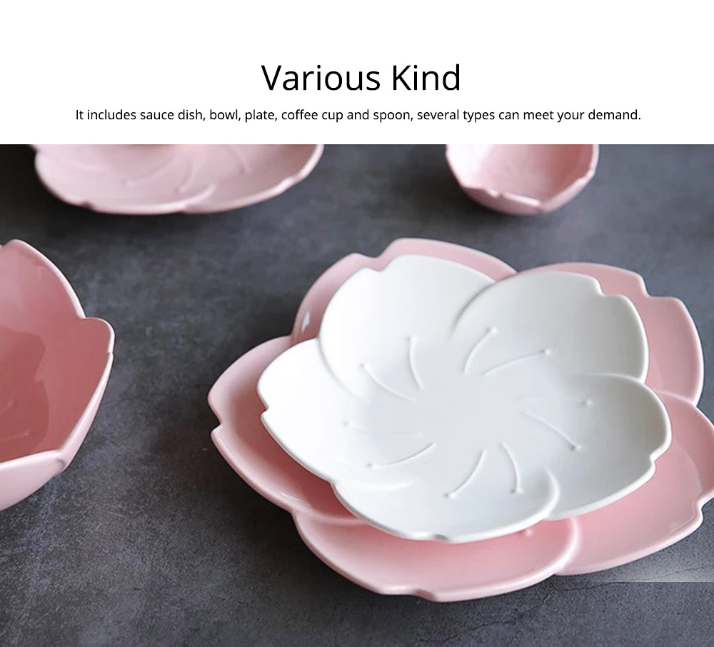 Japanese Style Pink Petal Tableware Western Food Plate Sauce Dish Baking Dishes 1