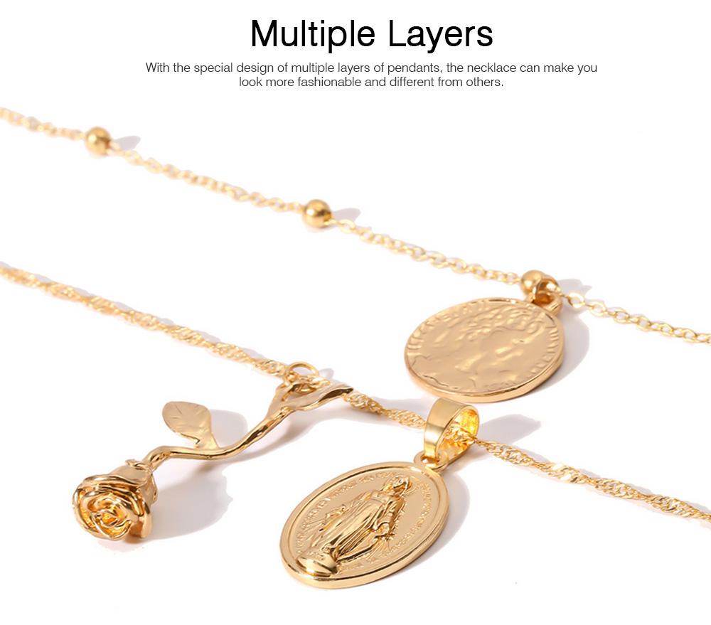 Women Alloy Pendant Necklace, Multi-layer Retro Rose & Jesus Pendant Accessory Necklace Beauty Accessory Gold Silver 2 Colors 3