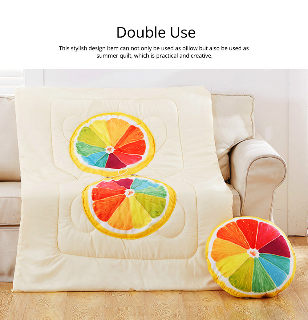 Double Use Summer Pillow Quilt Foldable Stylish Car Pillow Quilt for Office Noon Nap 1