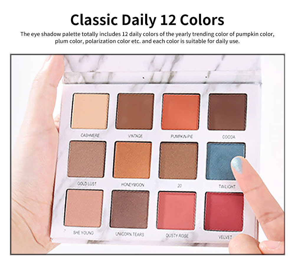 Marble Eye Shadow Palettes Classic 12 Color Daily Eye Shadow Matt Color Pearly Lustre Earth Color eyeshadow for Beauty Makeup 3