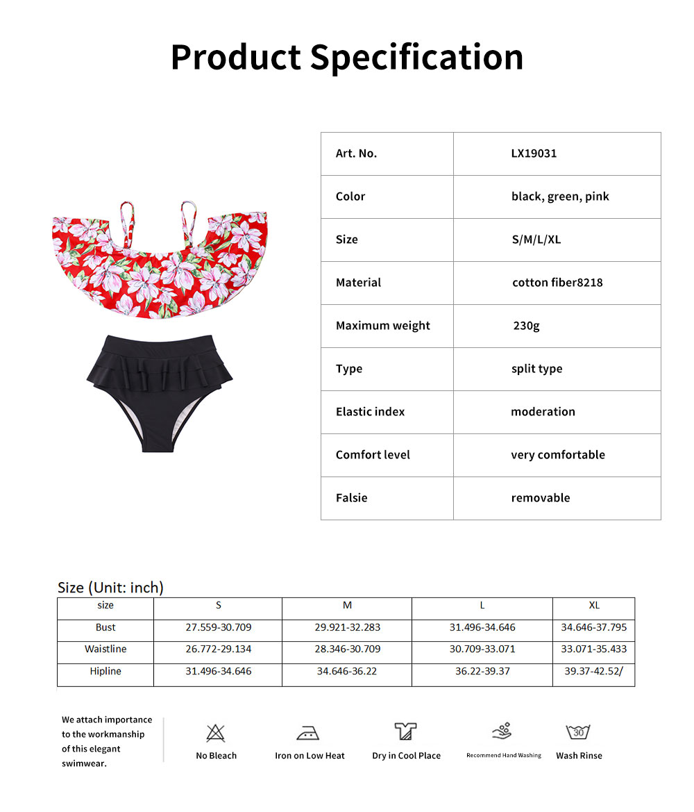 2019 Latest Sexy Cotton Fiber Bikini, Split Type Off Shoulder and High-waisted Fashionable Swimming Suit 5