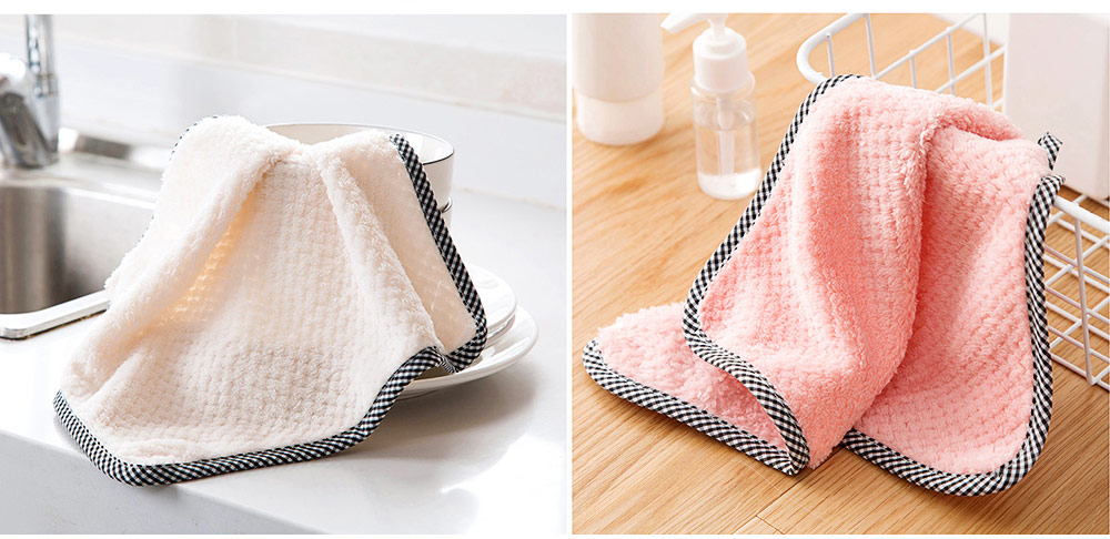 Coral Velvet Wipes Cleaning Cloth Super Absorbent Dish Towels Kitchen Washing Dishcloths 4