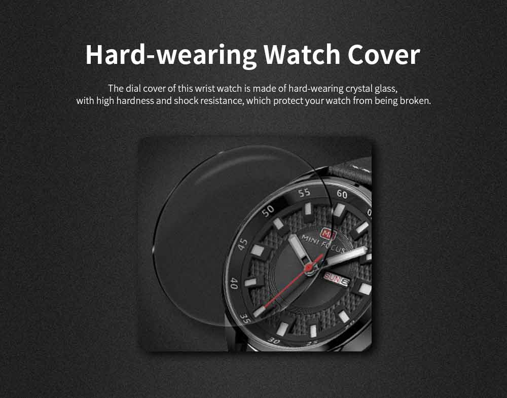 Wrist Watch for Men, Hard-wearing Waterproof Luminous Quartz Watch with Japanese Movement Breathable Genuine Leather Strap 5