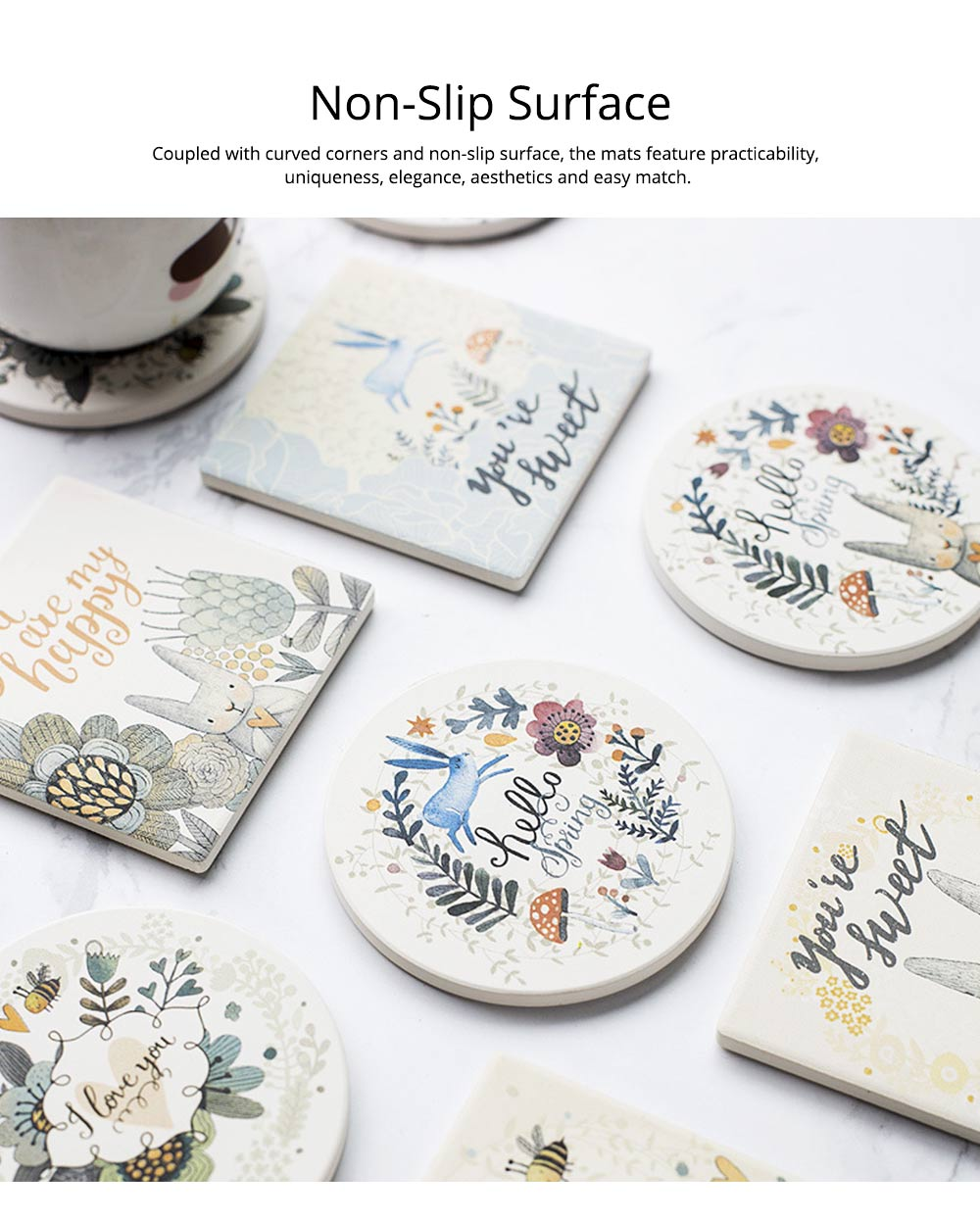 European Style Diatomite Water Obsorption Cup Mat Heat Insulation Eco-friendly Coasters 2