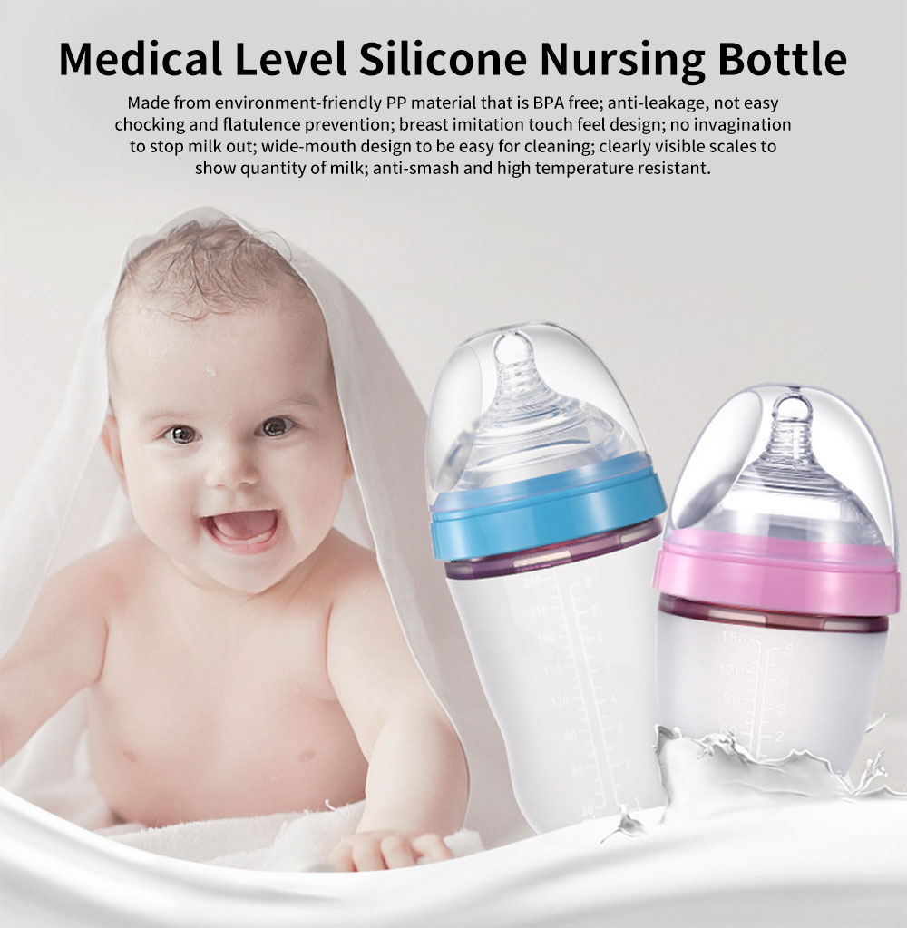 Wide-mouth Silicone Nursing Bottle for Babies, Imitation Breast Nursing Bottles Feeders 0