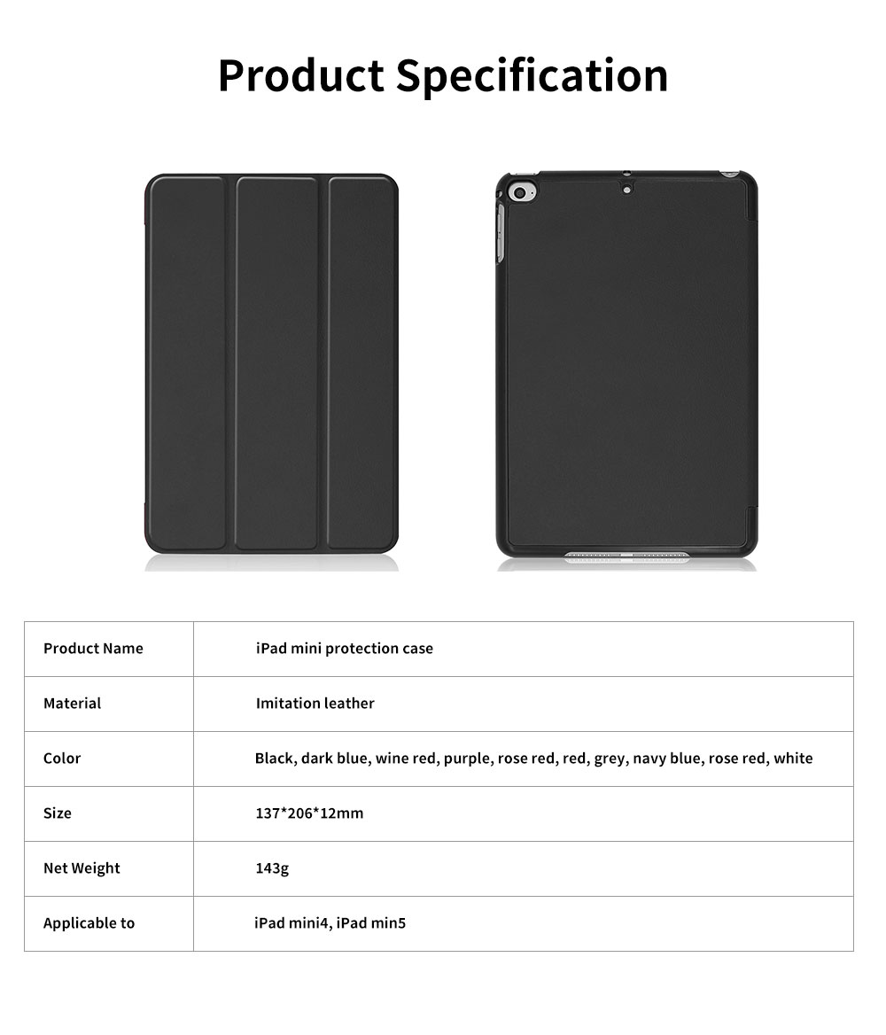 Tri-fold Filp Protective Leather Case for iPad Mini 5 4 Auto Sleep Wake Stand Cover Lightweight Full Protect Shockproof Shell 10 Colors 6