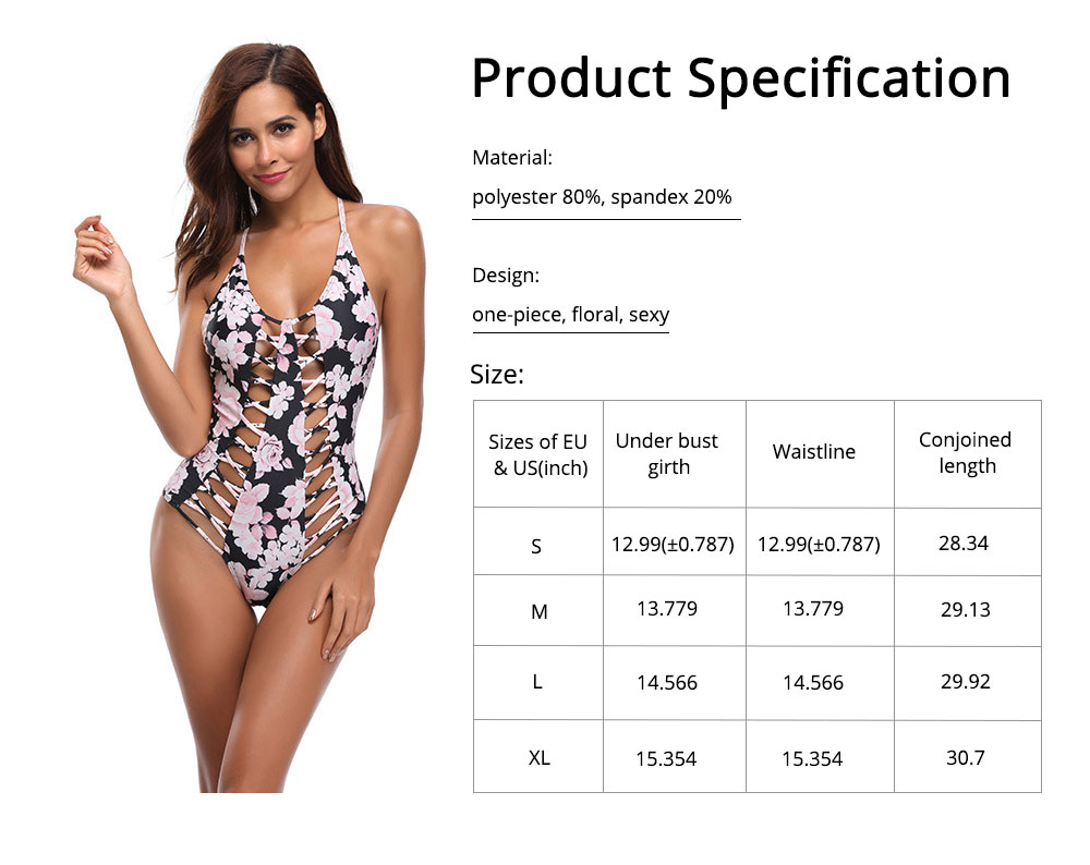 Polyester Material Swimsuit with Floral Printing Bikini for Women Bathing Suit Romper Style Summer Swimwear 6