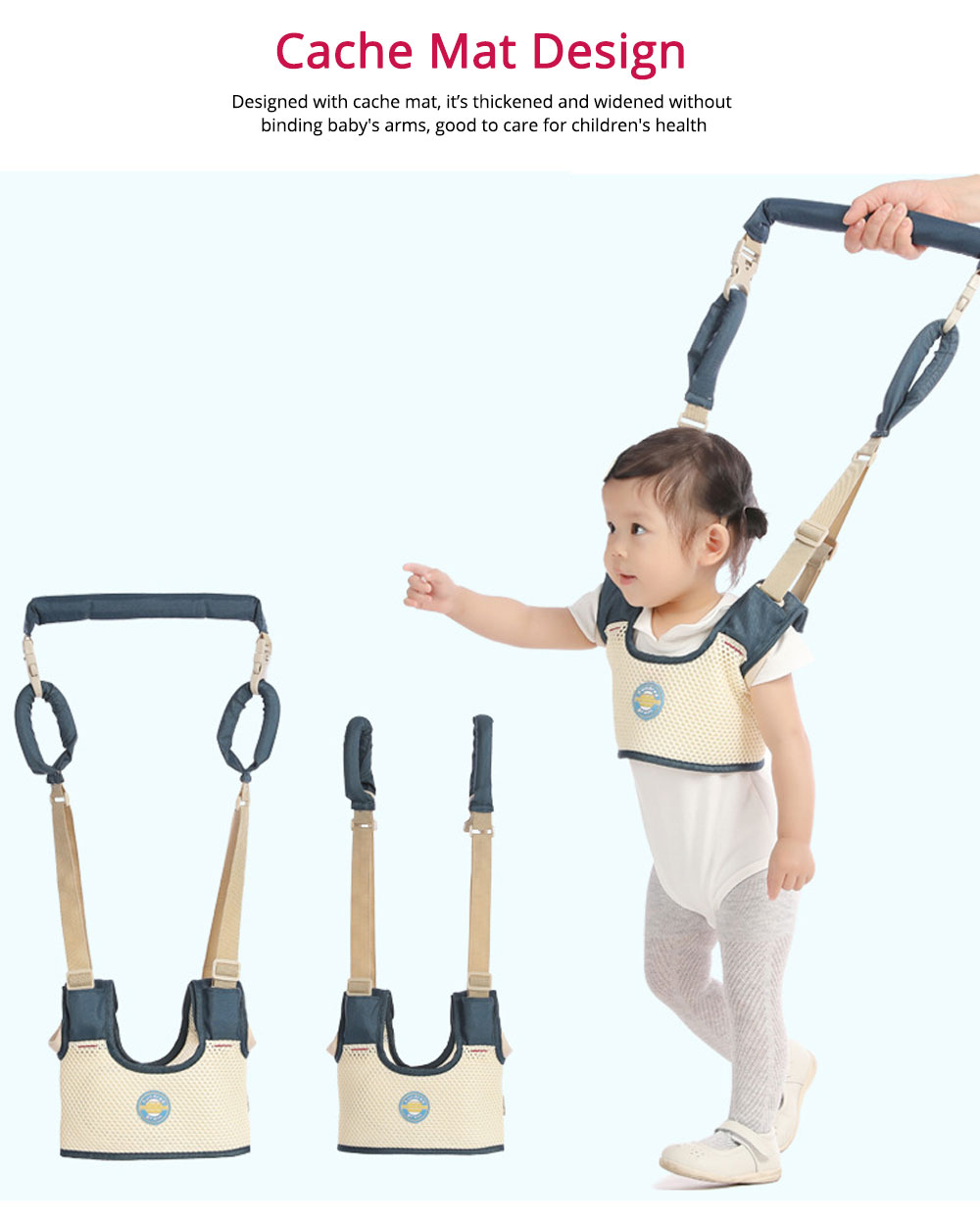 Belt Skin-friendly Material Adjustable Webbing for Baby Learning Walking Breathable Waistcoat Strap 4