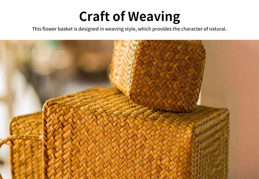 Pastoral Style Knitted Hanging Basket Decoration, High Quality Emulational Portable Vine Material Flower Basket 1