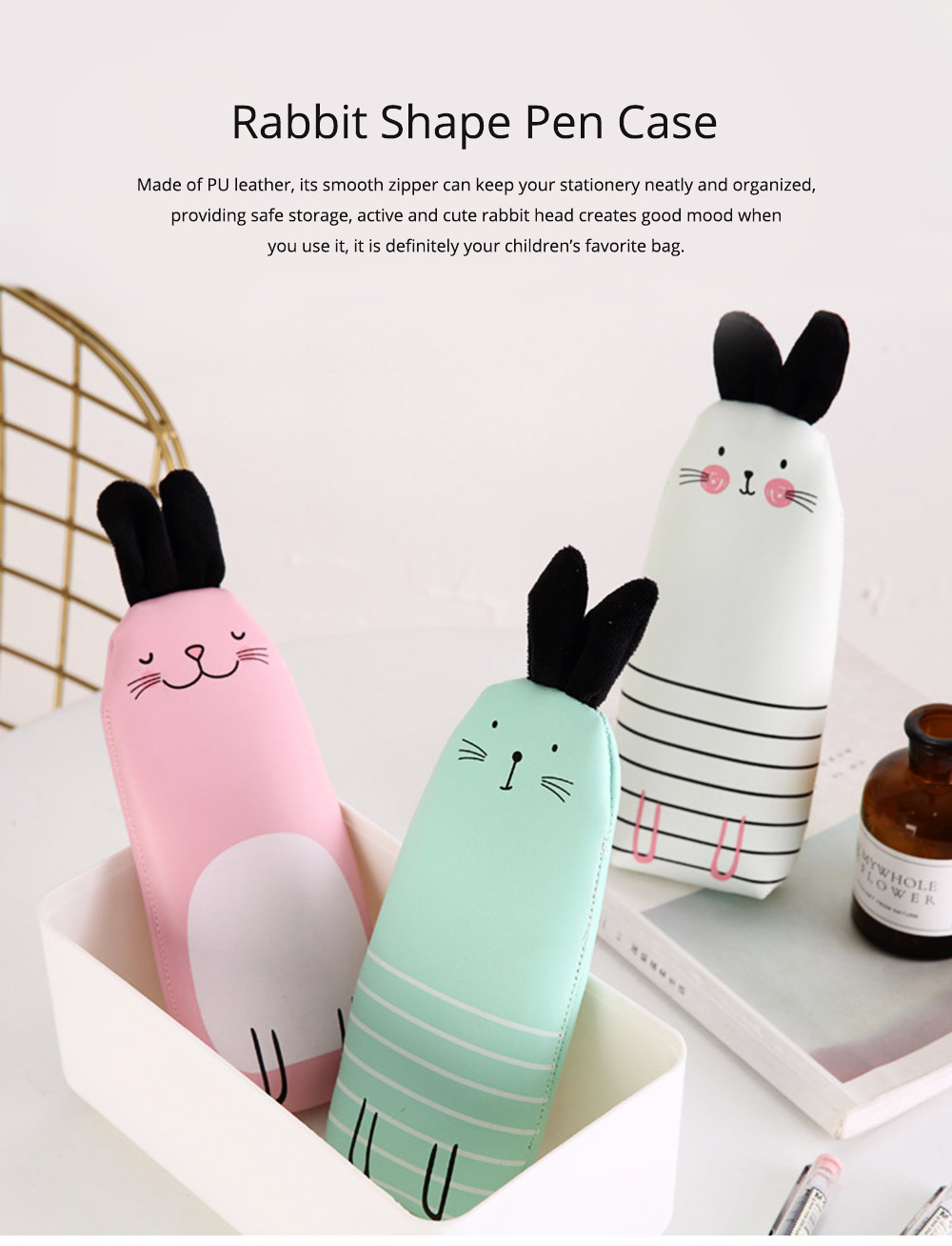 Japanese Style Energetic Simple Cute Pencil Case Rabbit Shape Pen Case with PU Material 0