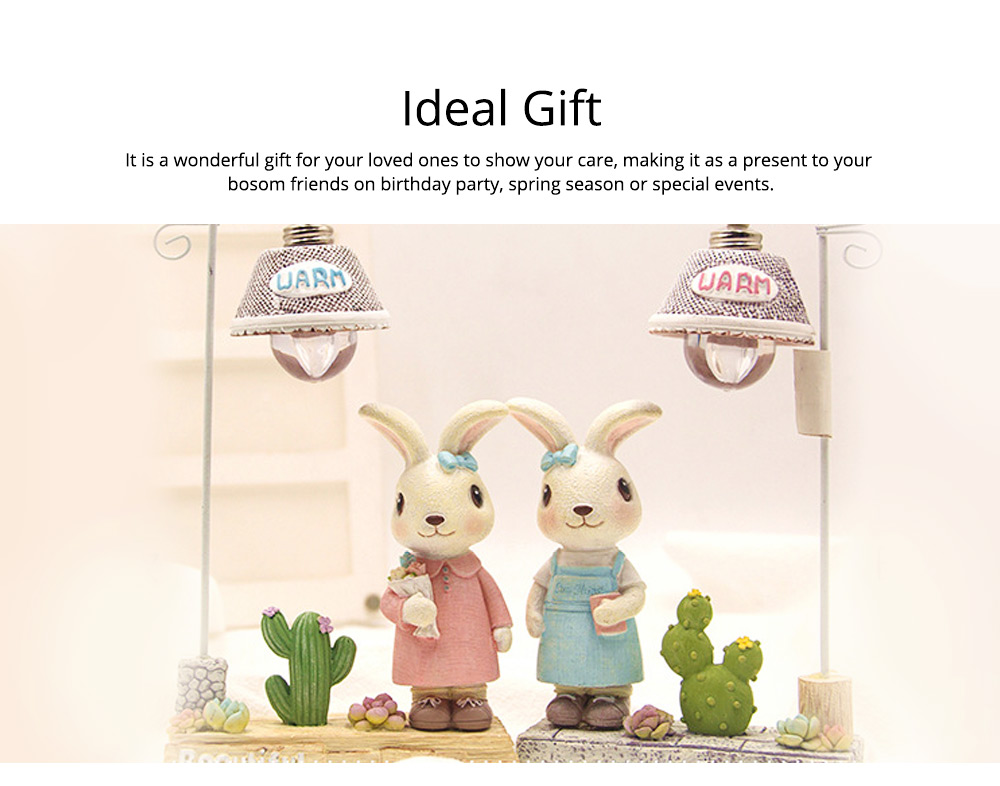 Rabbit Home Decoration Bunny Resin Figurines, Bunny Bosom Friend Hare Decorations for Home and Garden Ornaments 5