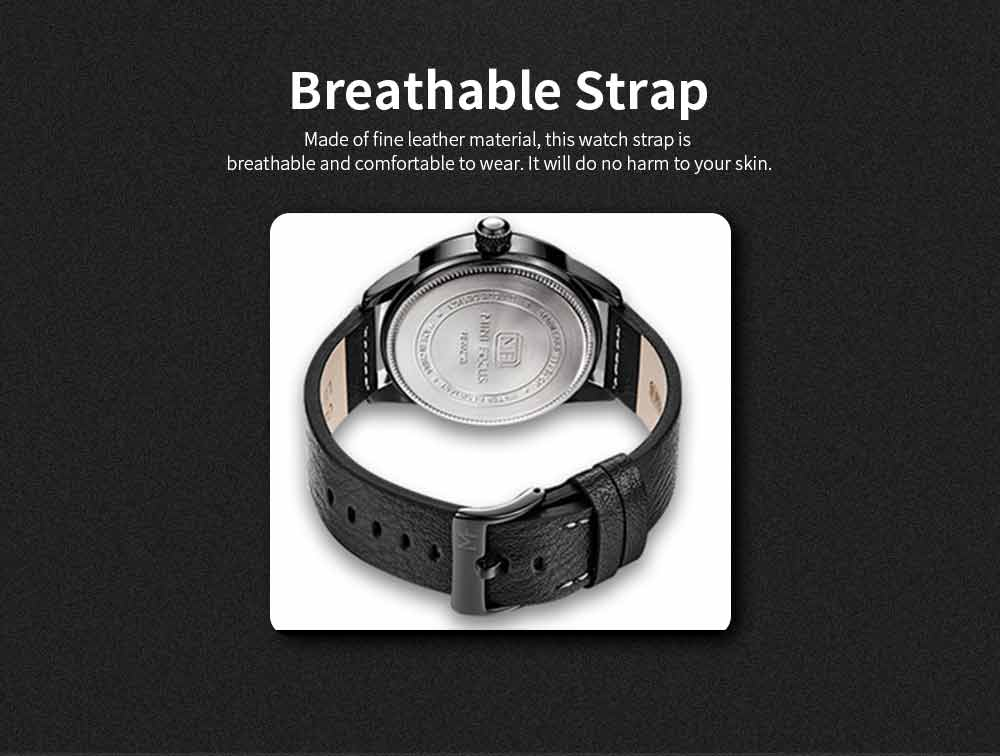 Wrist Watch for Men, Hard-wearing Waterproof Luminous Quartz Watch with Japanese Movement Breathable Genuine Leather Strap 8
