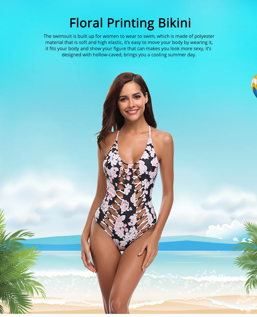 Polyester Material Swimsuit with Floral Printing Bikini for Women Bathing Suit Romper Style Summer Swimwear 0