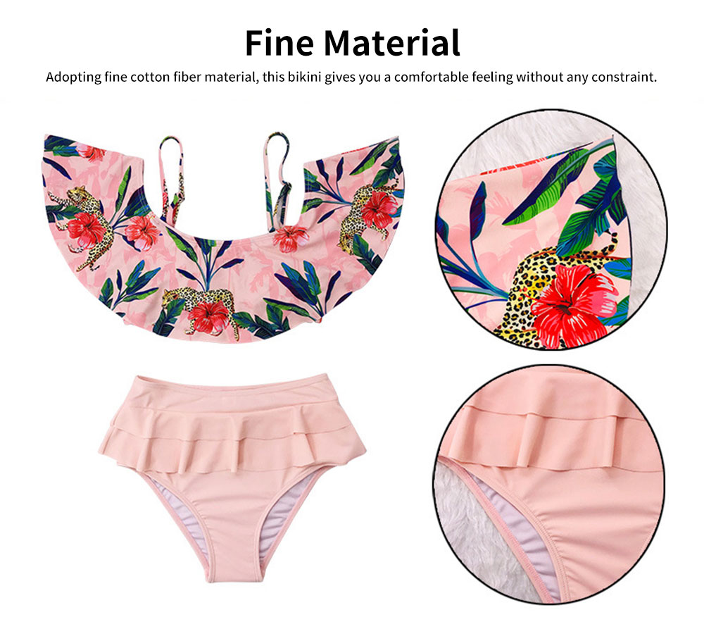 2019 Latest Sexy Cotton Fiber Bikini, Split Type Off Shoulder and High-waisted Fashionable Swimming Suit 2