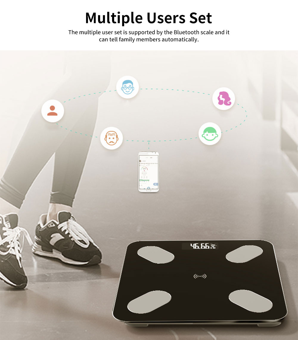 Digital Weight and Body Fat Bluetooth Scales, Bluetooth Intelligent Scale for Body Weight 5