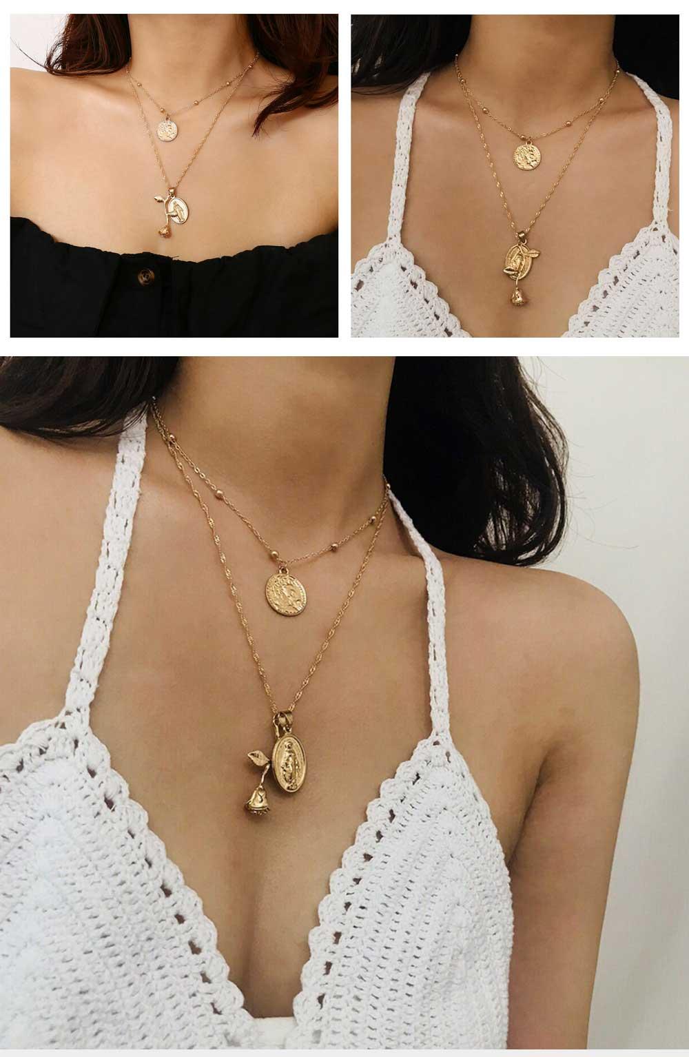 Women Alloy Pendant Necklace, Multi-layer Retro Rose & Jesus Pendant Accessory Necklace Beauty Accessory Gold Silver 2 Colors 5