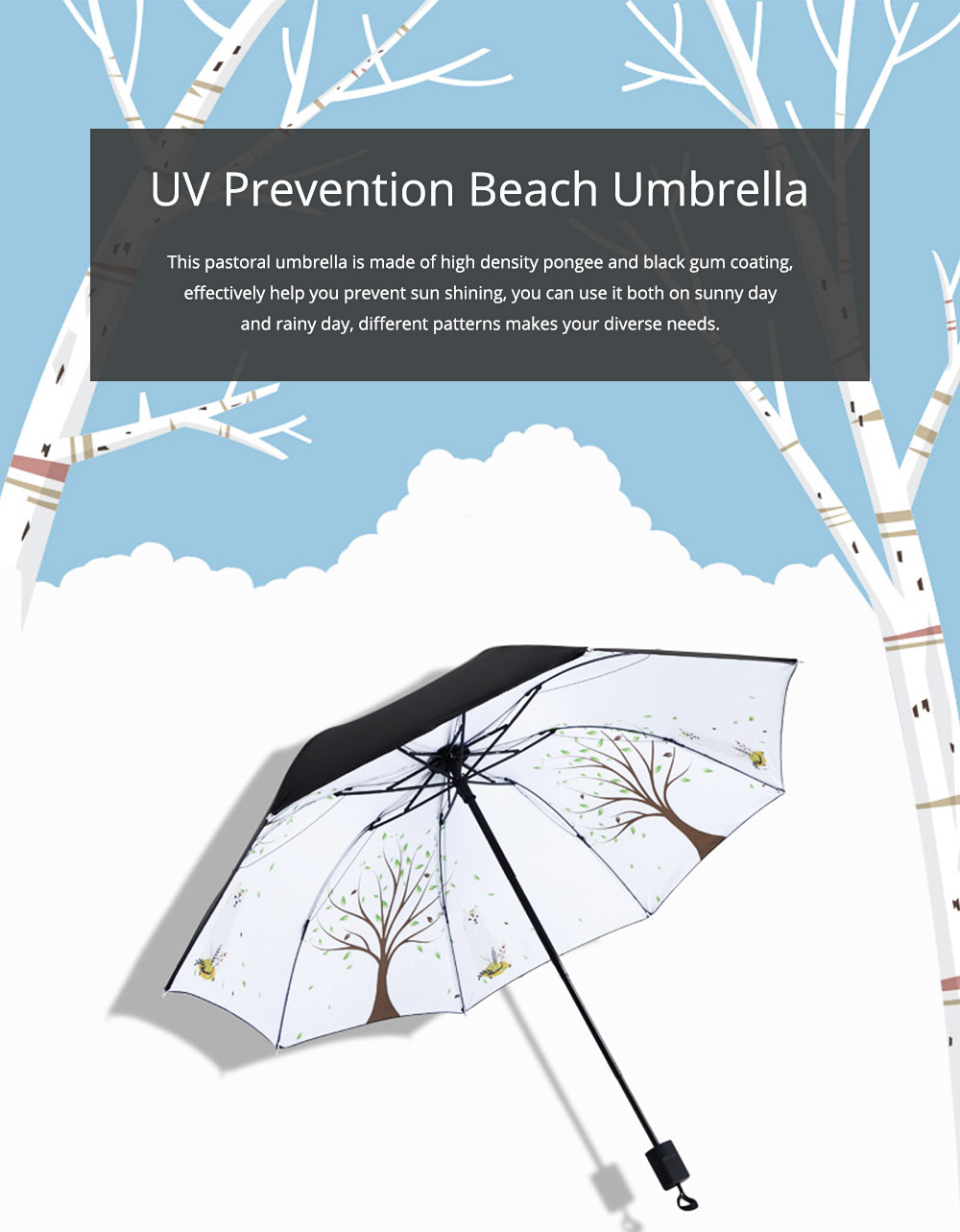 Black Gum New Innovative All-weather Umbrella UV Prevention Beach Umbrella 0