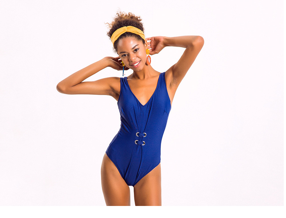 Pure Color Sexy One-piece Swim Suit for Women, Fashionable Blue Bikini Swimming Hot Spring Suit for Women Lady 4