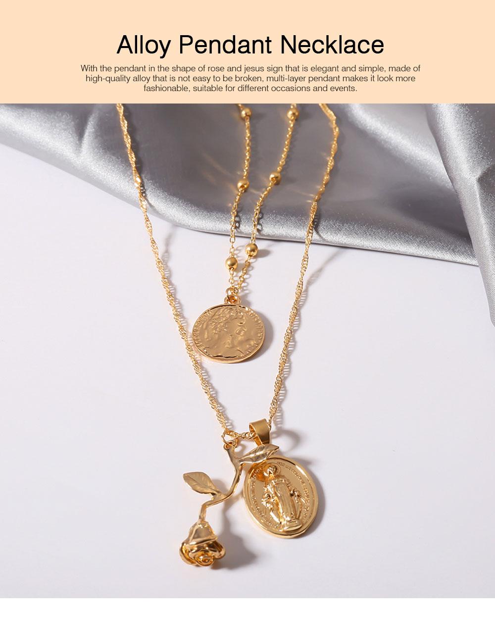 Women Alloy Pendant Necklace, Multi-layer Retro Rose & Jesus Pendant Accessory Necklace Beauty Accessory Gold Silver 2 Colors 0