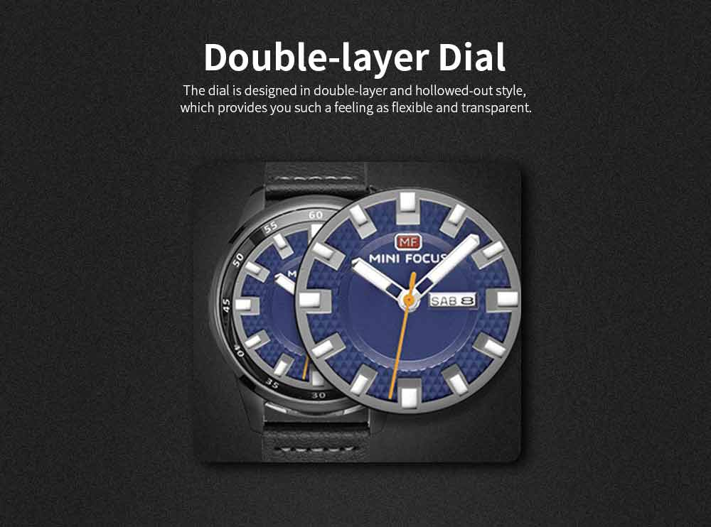 Wrist Watch for Men, Hard-wearing Waterproof Luminous Quartz Watch with Japanese Movement Breathable Genuine Leather Strap 2