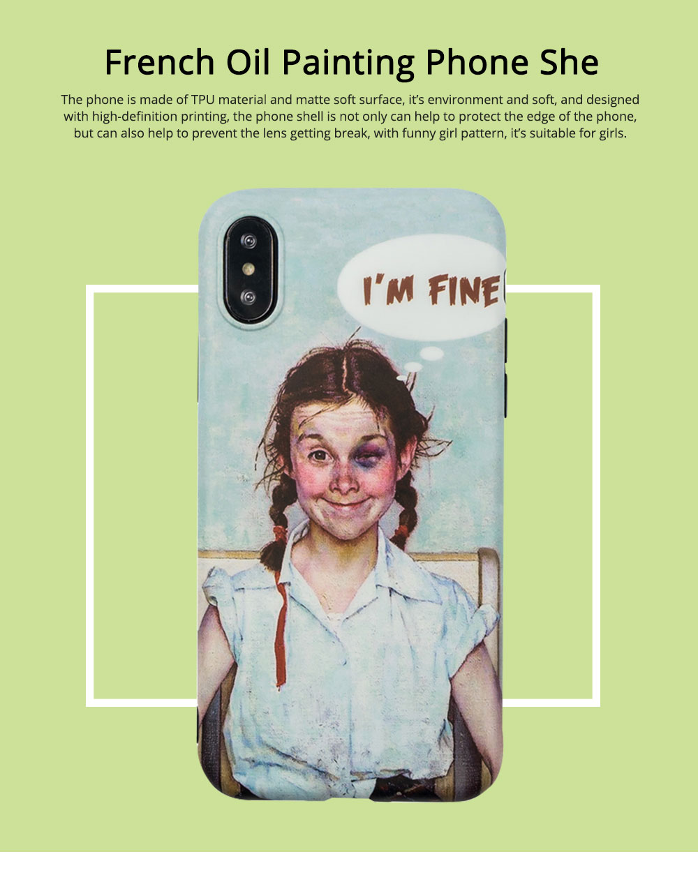 French Oil Printing Phone Case TPU Full Enclosed Protective Shell Compatible for iPhone 6 6s 7 8 XS Max XR 7P 8P with Funny Girl Print 0