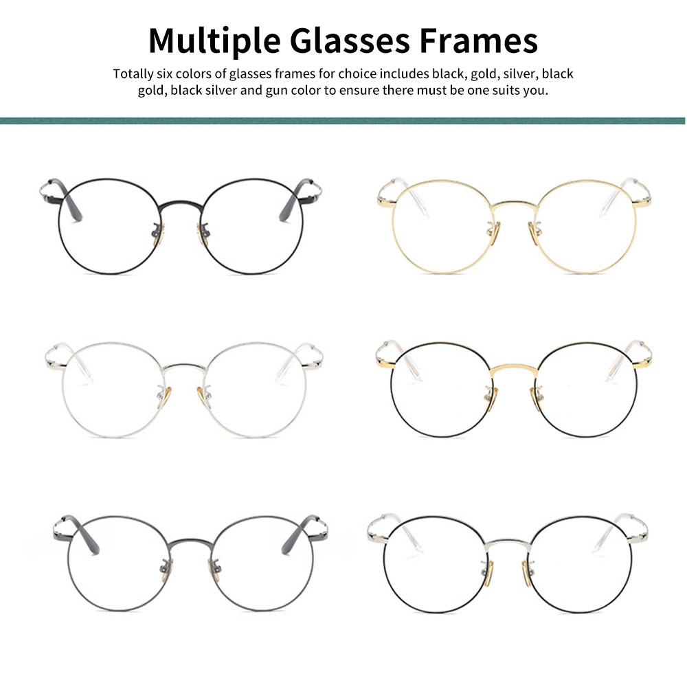 Unisex Retro Style Radiation Protection Glass Frames, Anti-blue Ray Glasses, Plano Lens Glass Frames Computer Round Frame Glasses Shortsighted Goggles 5