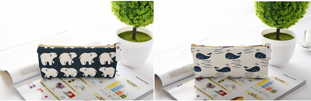 Korean Style New Creative Student Stationery Bag Cotton Linen Pen Bag for Different Patterns Optional 8