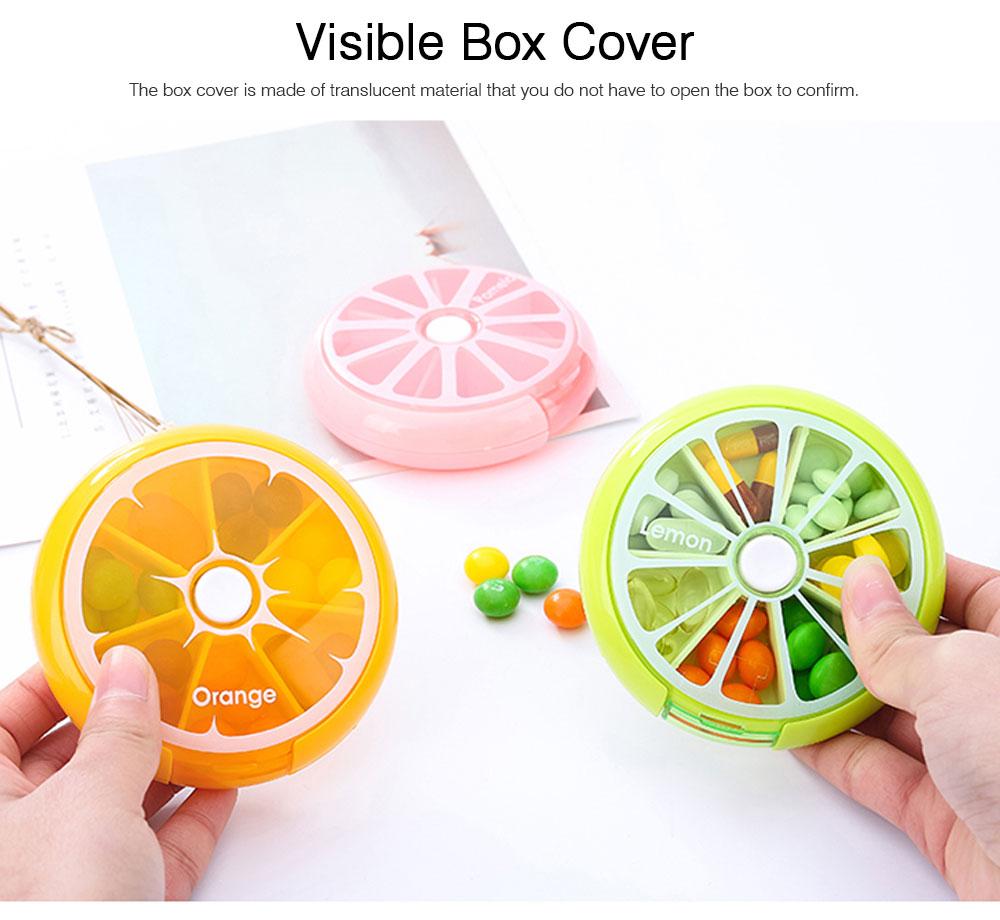 Rotate Button Mini Pill Box Plastic 7 Segmentation Pill Organizer Box for Pills & Tablets 5