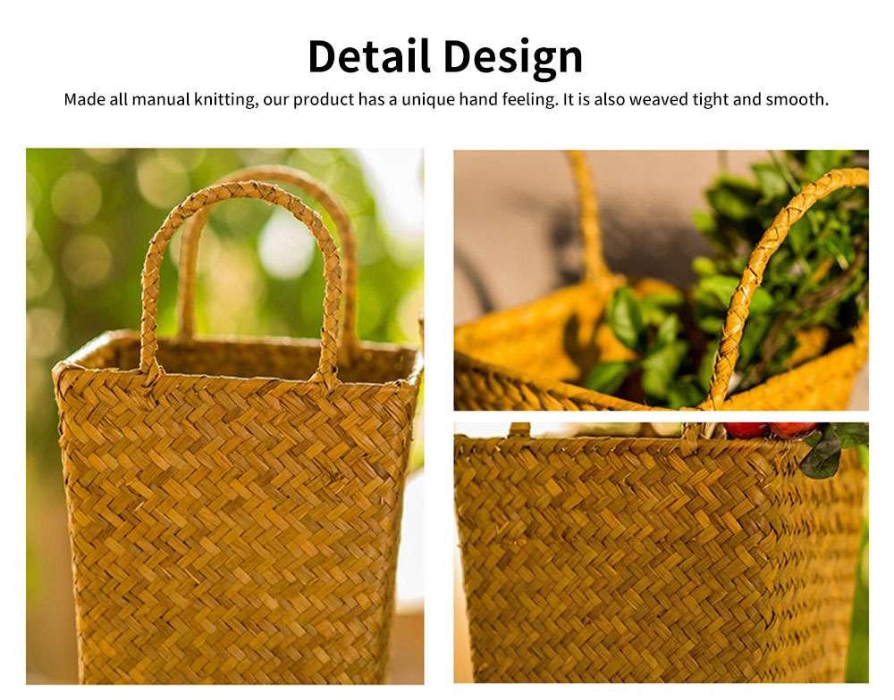 Pastoral Style Knitted Hanging Basket Decoration, High Quality Emulational Portable Vine Material Flower Basket 4