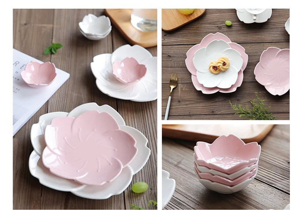Japanese Style Pink Petal Tableware Western Food Plate Sauce Dish Baking Dishes 4