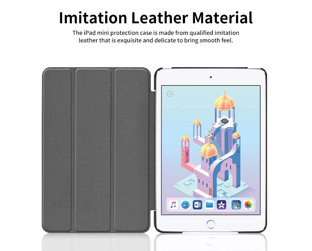 Tri-fold Filp Protective Leather Case for iPad Mini 5 4 Auto Sleep Wake Stand Cover Lightweight Full Protect Shockproof Shell 10 Colors 1