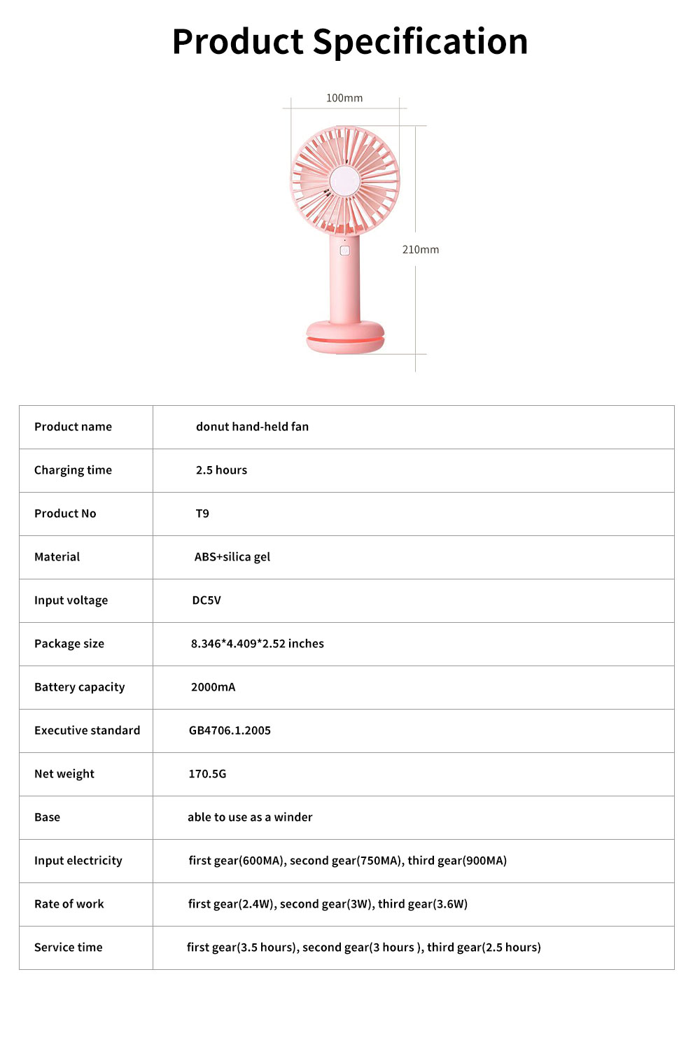 Hand-held Mini-sized Donut Electric Fan with LED Colorful Night Light, Concise ABS and Silica Gel USB Charging Air Fan 6