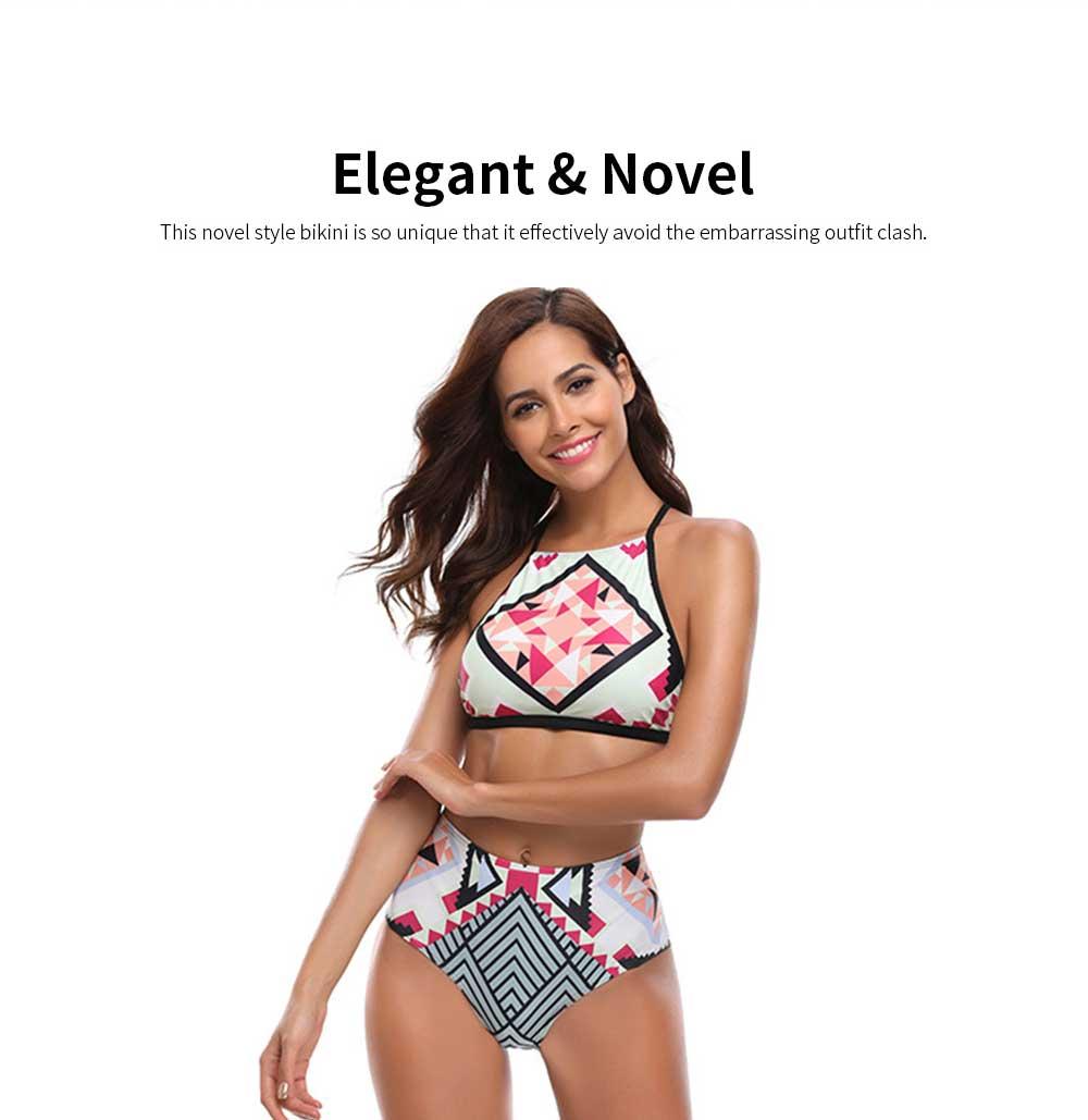 2019 Latest European Style Sexy Bikini, Terylene High Waist Two-piece Fresh and Sexy Bathing Suit Swimwear 3