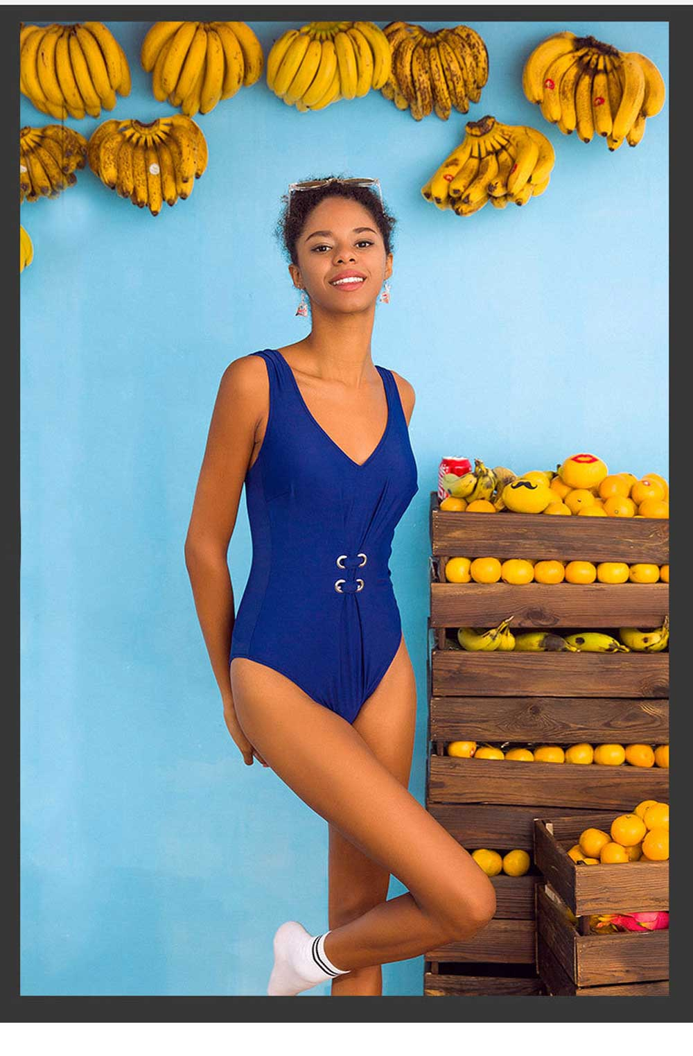 Pure Color Sexy One-piece Swim Suit for Women, Fashionable Blue Bikini Swimming Hot Spring Suit for Women Lady 6