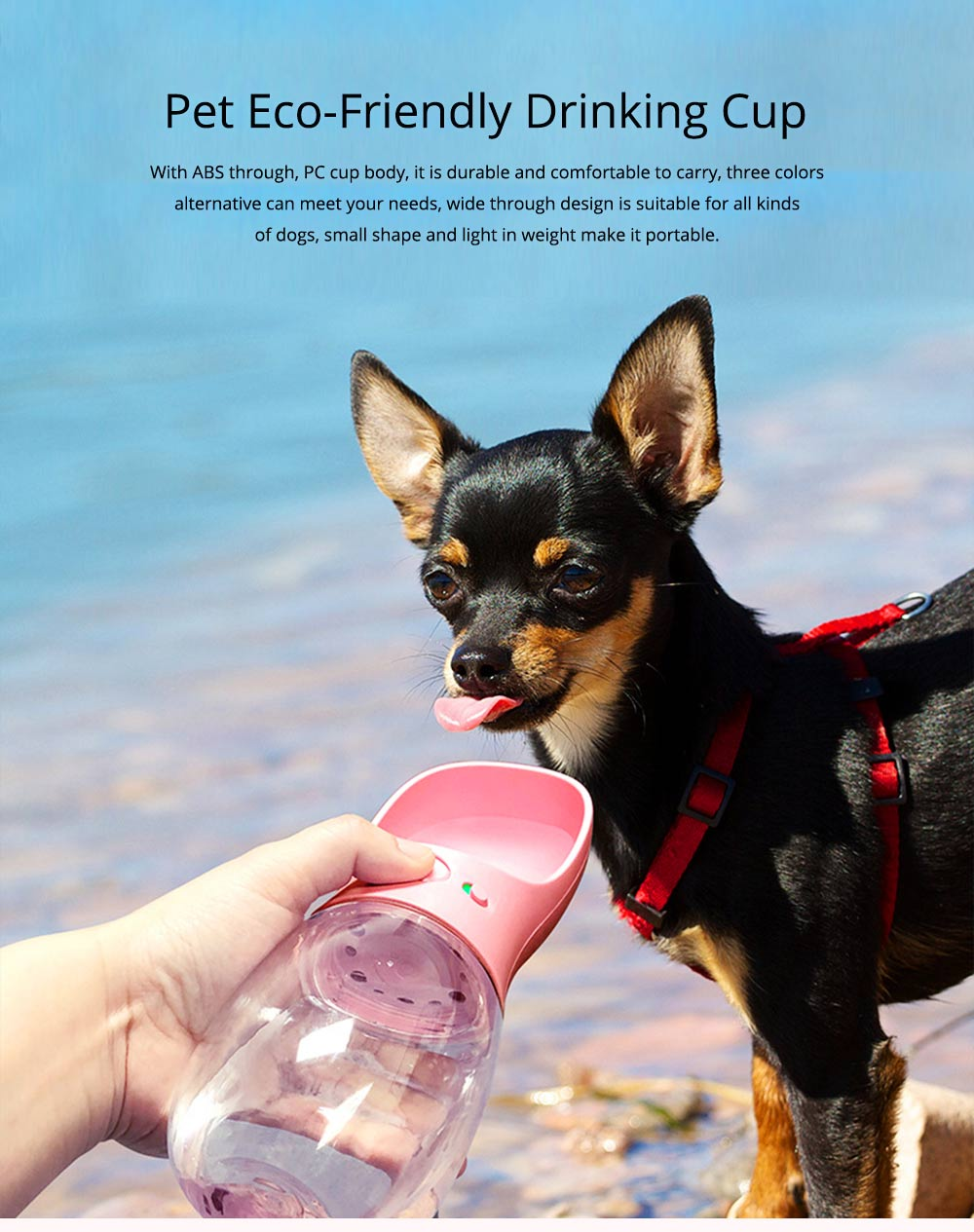 Pet Eco-friendly Drinking Cup Portable Drinking Bowl with Two Colors for Travel Outside 0