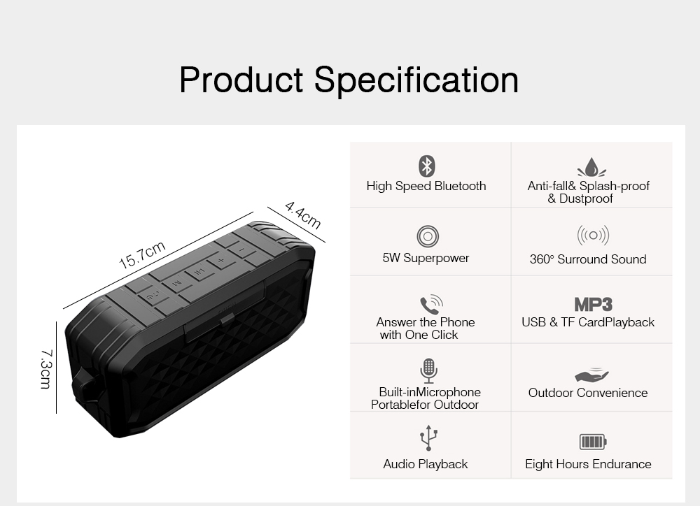 Bluetooth 5.0 Speaker Silicone Waterproof IPX7 Voice Box Dustproof Anti-fall Hand-free Call HIFI 3D Sound Effect Subwoofer Music Player 7