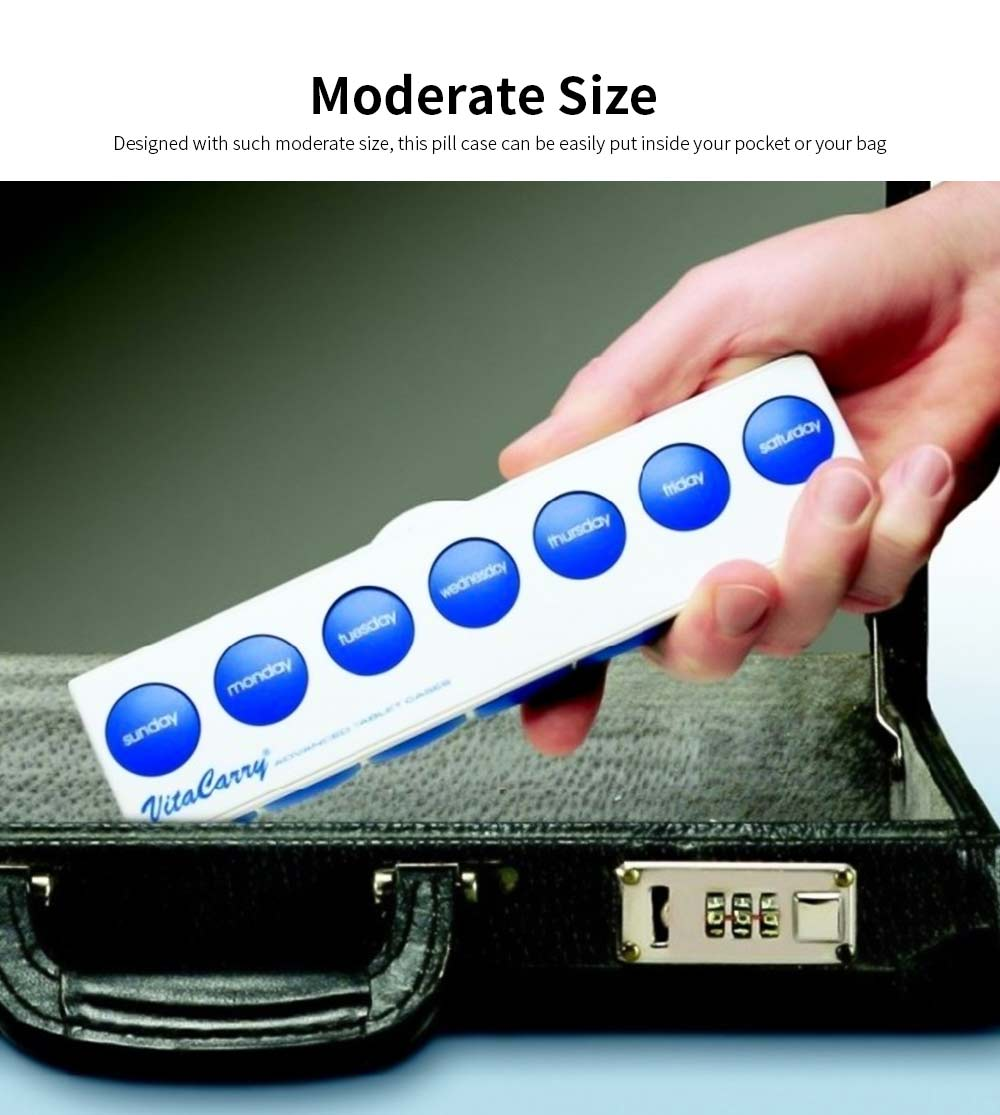 Portable Medicine Storage Box with Double Safety Lock, Carry-on Moderate Size Weekly Pill Case for Travelling 1