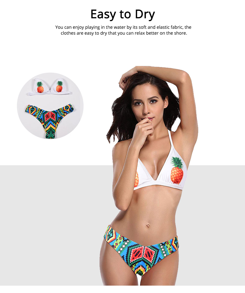 Polyester Swimwear Spandex Material Pineapple Printing Bikini for Women Sexy Bathing Suit Two-pieces Swimsuit for Summer 5